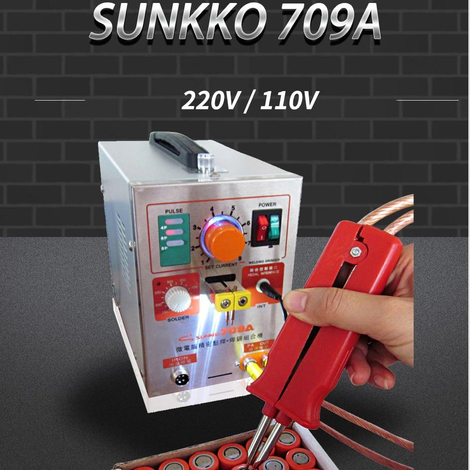 Sunkko 709A battery spot welder with HB-70B welder pen DIY battery pack spot welding machine with clip and nickel sheet