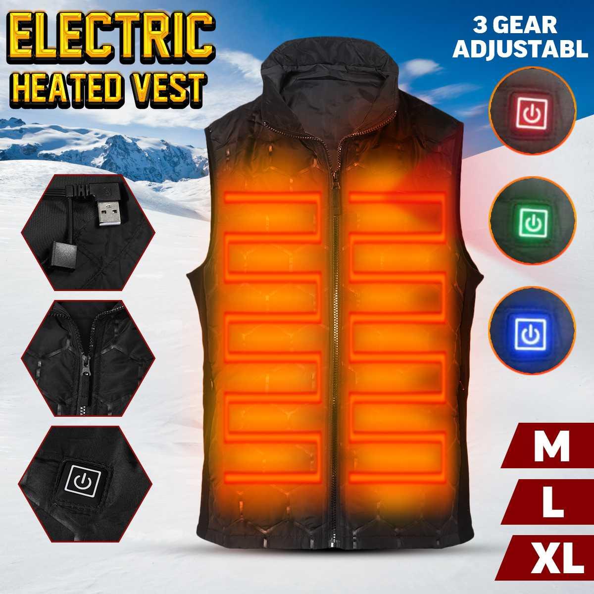 Nuevo chaleco eléctrico calentador Usb chaqueta de calefacción Ultra-Delgado ropa de invierno caliente hombres mujeres térmica chaleco sin mangas al aire libre
