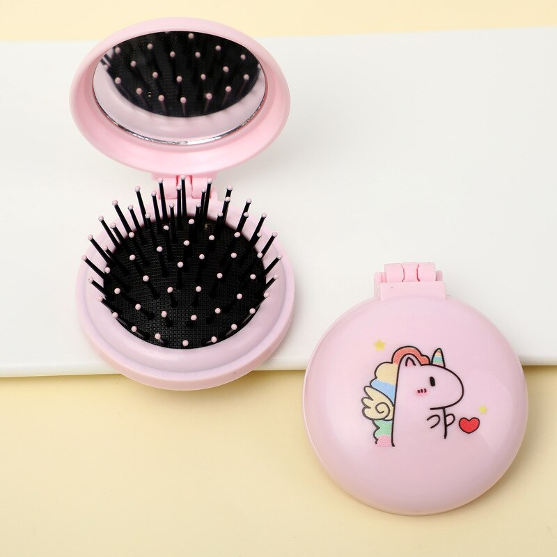 Espejo plegable de masaje con peine, bolsillo portátil, pequeño cepillo de pelo de viaje para chica con herramientas de estilo de espejo, Mini espejo de bolsillo bonito