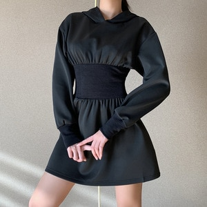 Women Fashion Black Corset Hoodie Dress Female Vintage High Waist Long Sleeve Punk Hooded Mini Dress Streetwear