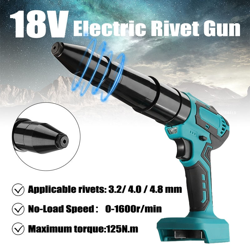 Electric Blind Riveter Cordless Portable  Rivet Gun 18V 3.2mm-4.8mm Screwdriver Tools With LED Rechargeable For Makita Battery