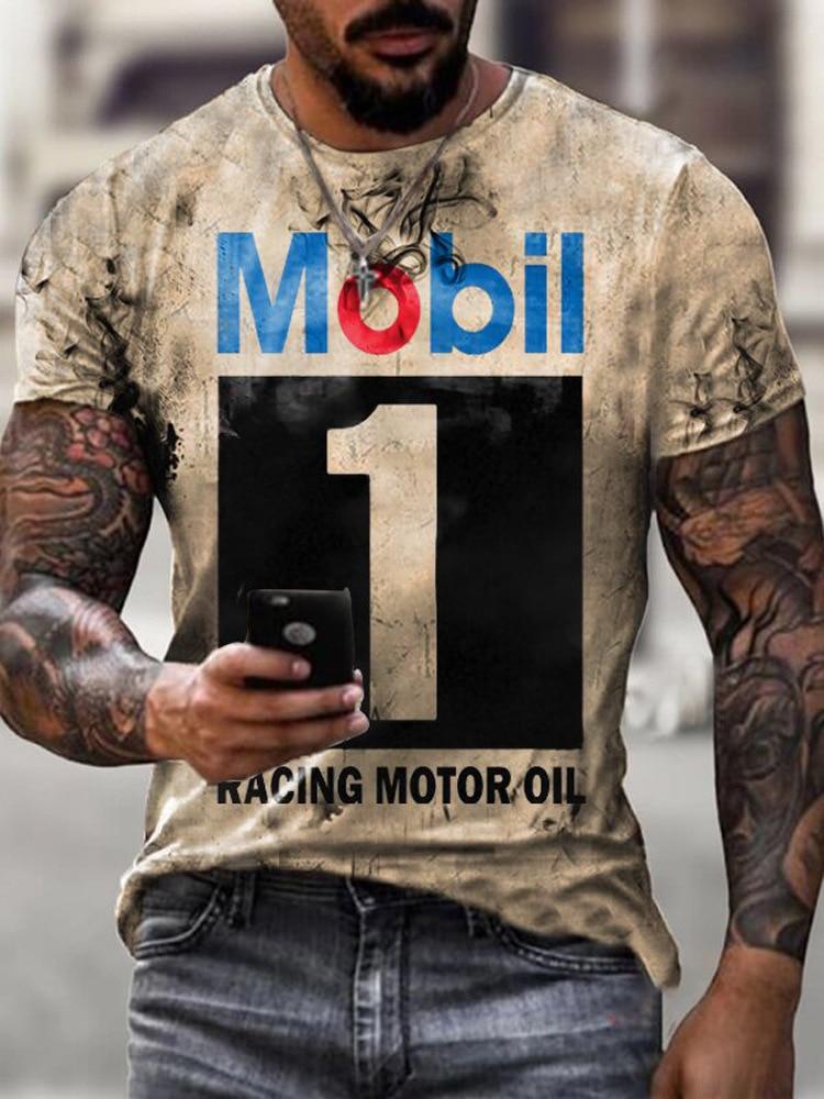 2021 Summer New Personality 3D Printing Mobil 1 Men's T-Shirt Cool Iocomotive Trendy Menswear Short
