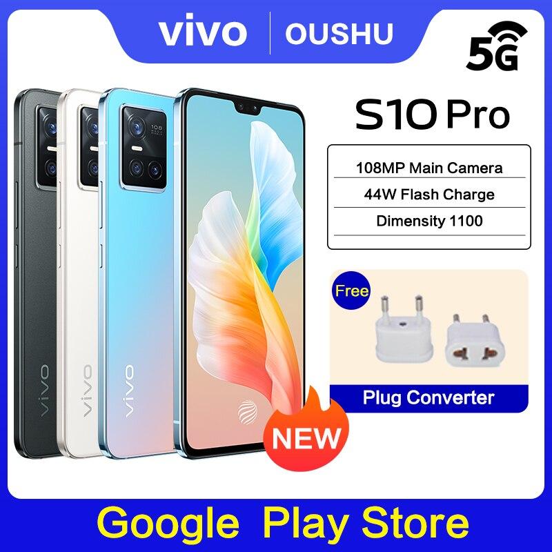 Перейти на Алиэкспресс и купить Оригинальный сотовый телефон vivo S10 Pro, телефон с NFC, 12 Гб, 256 ГБ, Dimensity, экран 1100 дюйма AMOLED, основная камера 6,44 МП, 44 Вт, фонарик, Android 11