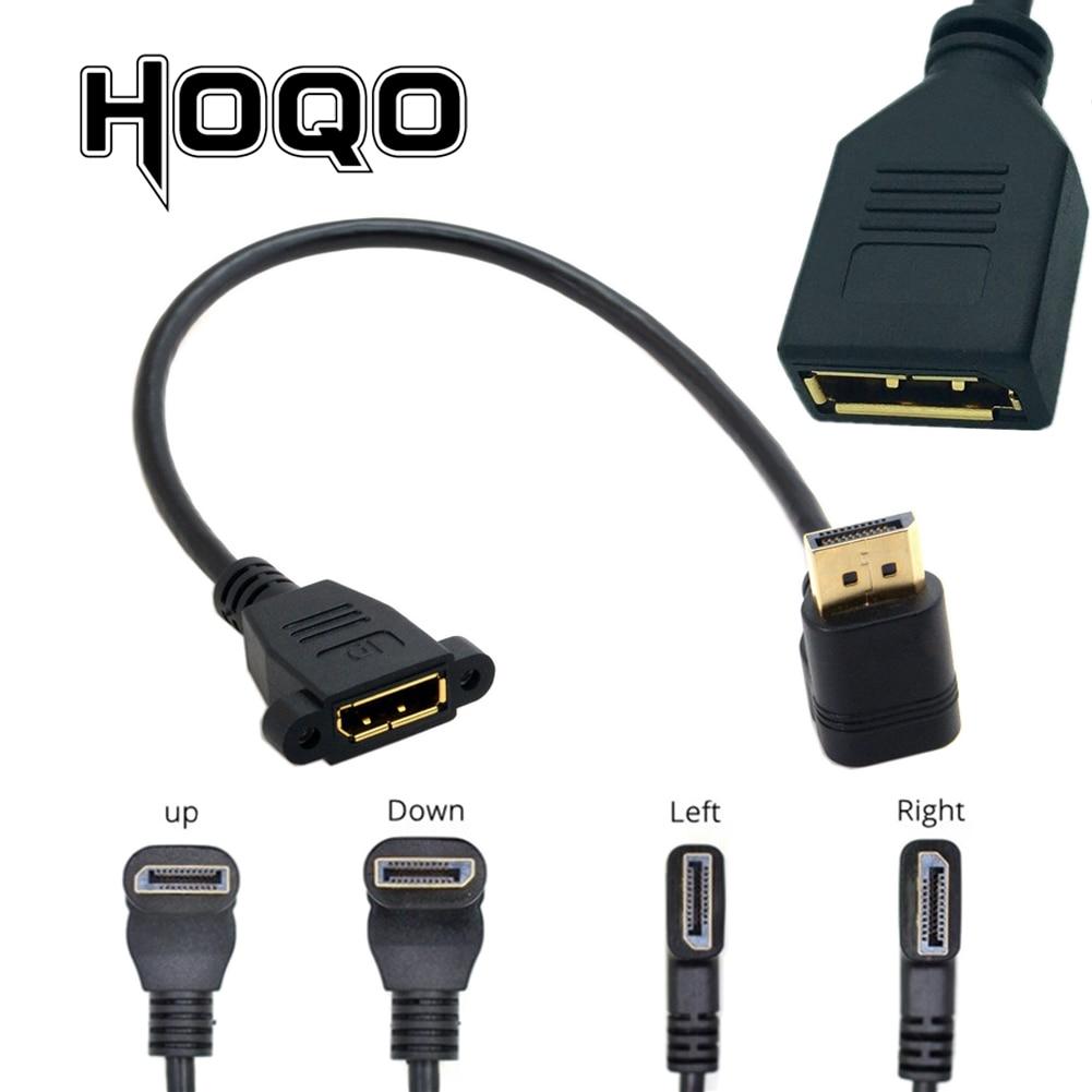 90 degrés Angle coude DisplayPort panneau montage rallonge câble adaptateur coin DP 1.4v mâle à femelle cordon prise vis 2k @ 144Hz