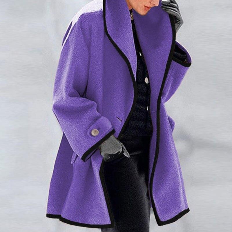 Синий женский модный пуховик, Лидер продаж 2021, новое зимнее шерстяное пальто, тренчкот, женское теплое облегающее длинное пальто, верхняя од...