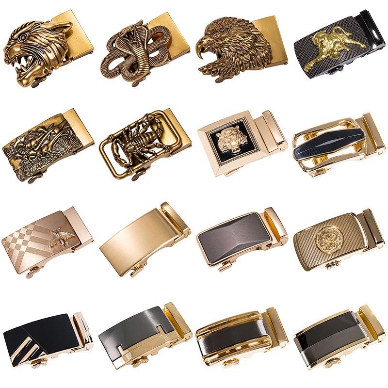 Hebillas de cinturón Hi-Tie de marca de lujo para hombres, hebilla de cinturón de vaquero, hebilla automática de 3,5 cm de ancho, hebillas metálicas doradas de diseñador sin cinturón