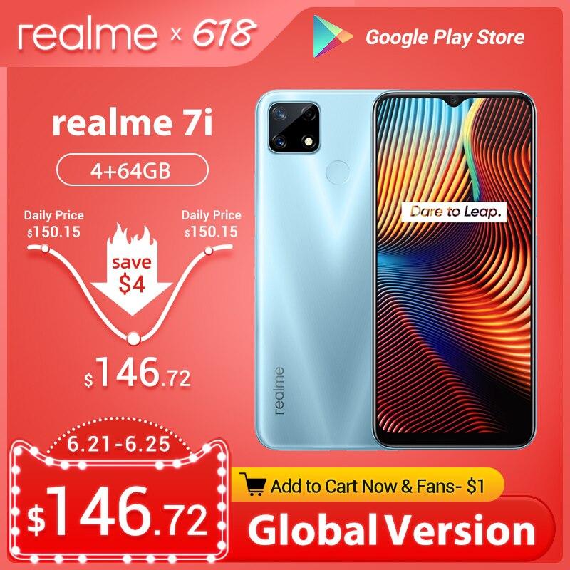 Перейти на Алиэкспресс и купить Глобальная версия realme 7i мобильные телефоны 6,5 ''HD + Helio G85, четыре ядра, 4 Гб Оперативная память 18W быстрое зарядное устройство Зарядное устройс...