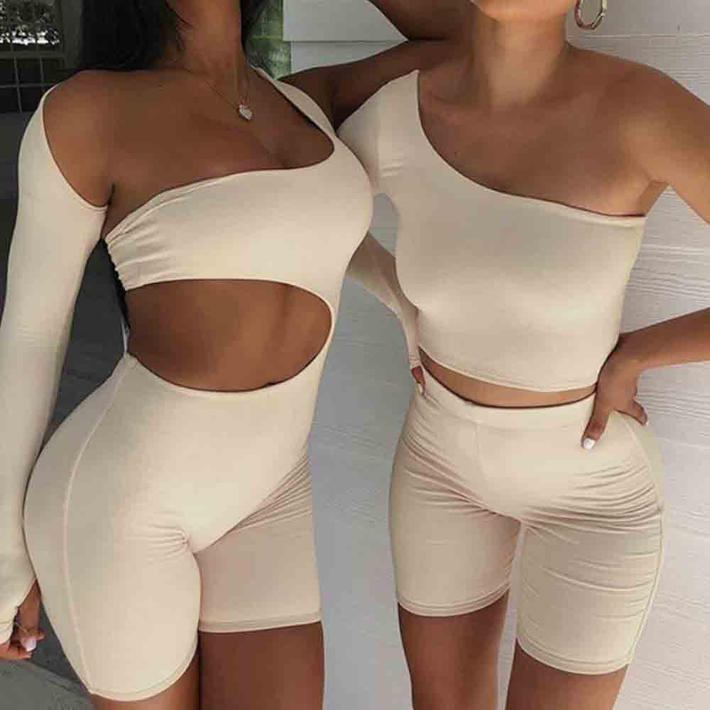 Solid Asymmetrical Two Piece Sets Women Tracksuit Crop Tops+Elastic Bike Shorts Sporty Matching Suits Casual Female Outfit women summer two pieces sets dress casual solid backless crop tops skirts suits set female night party club dresses tracksuit