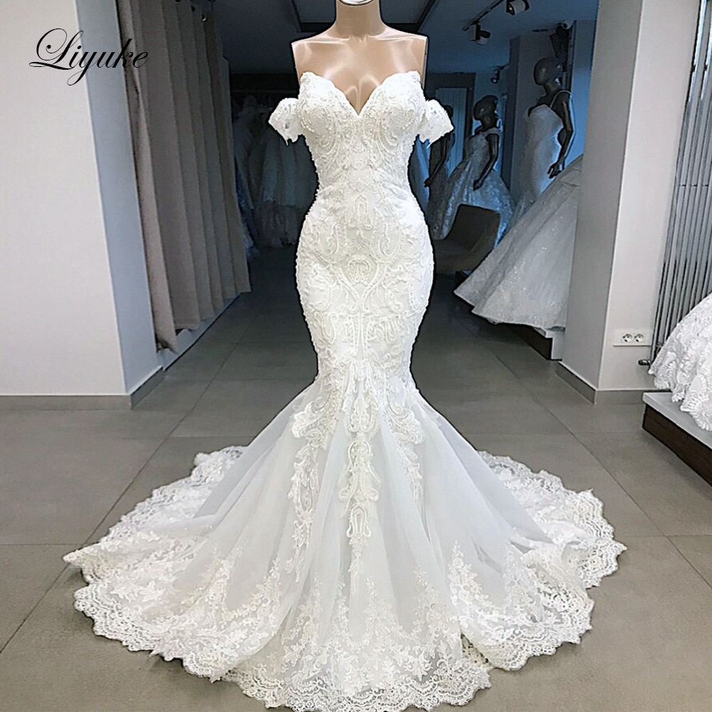 Liyuke 2020 sirena vestido de novia de lujo se pliega del hombro con Bling Plearls vestido de novia sin mangas