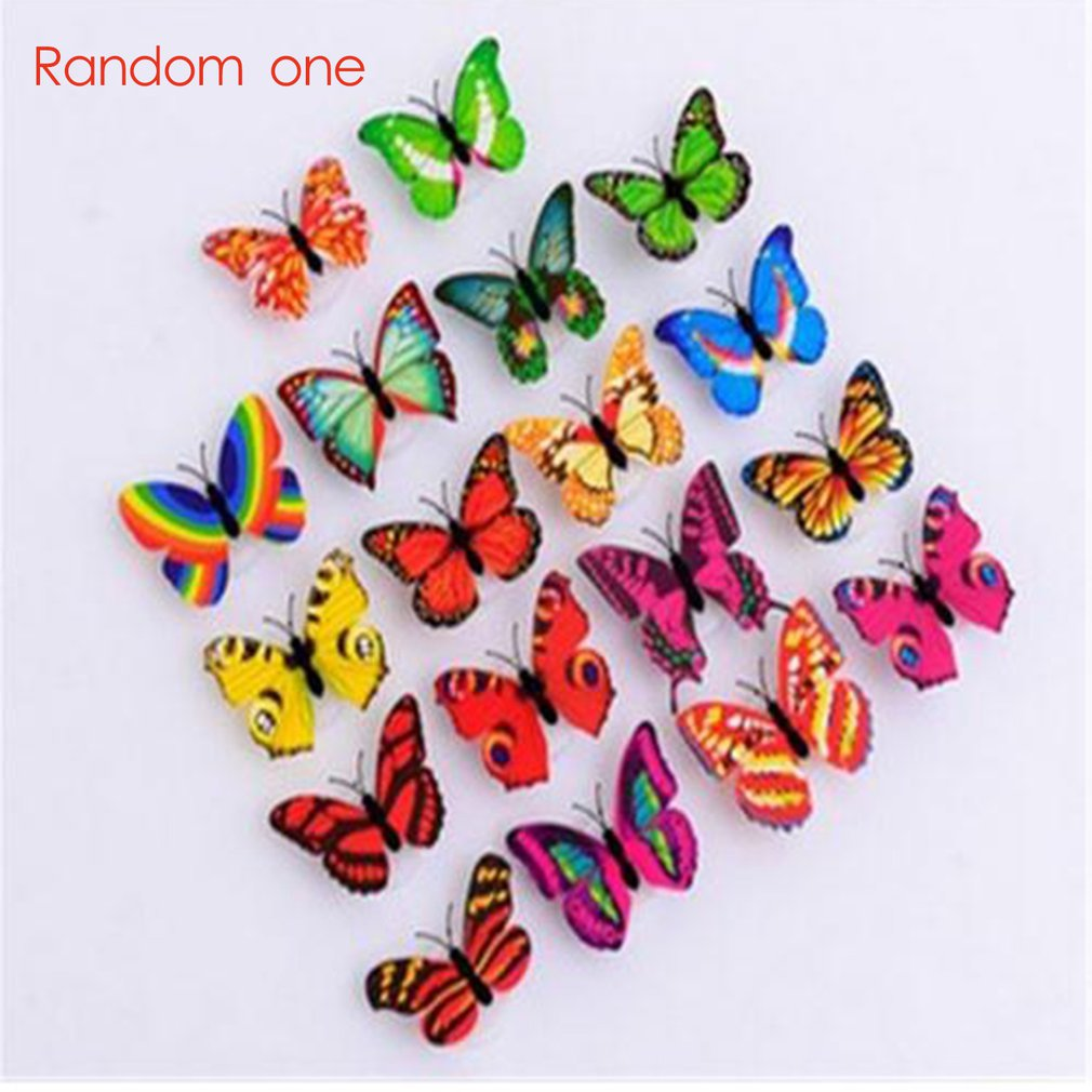 3D Colorful LED Butterfly Night Light Stereo Simulation Party Wall Sticker Double-sided Adhesive Lamp