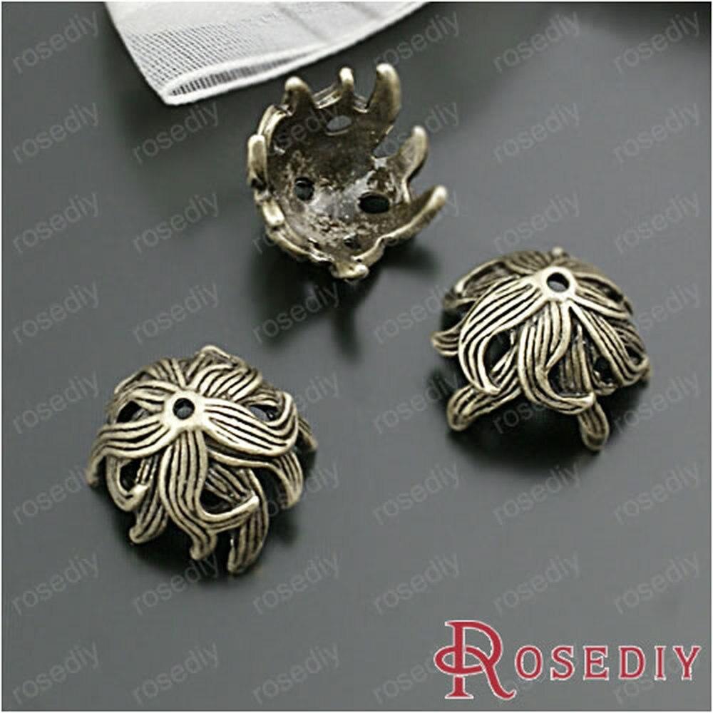 Wholesale 15mm height 10mm Antique Bronze Flower Alloy Bead Caps Diy Jewelry Findings Accessories 20 Pieces(JM6229)