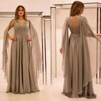 saudi arabic elegant chiffon lace mother of the bride dresses shawl tulle plus size groom mother gown v neck evening dress women