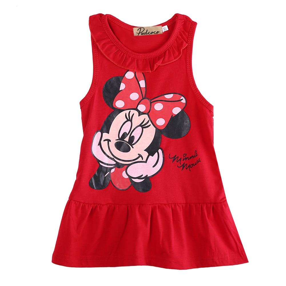 Pudcoco 1-6Y Baby Girls Dress Girls Summer Dress Cartoon Minnie Mouse Dress Princess Dress 1-6 years