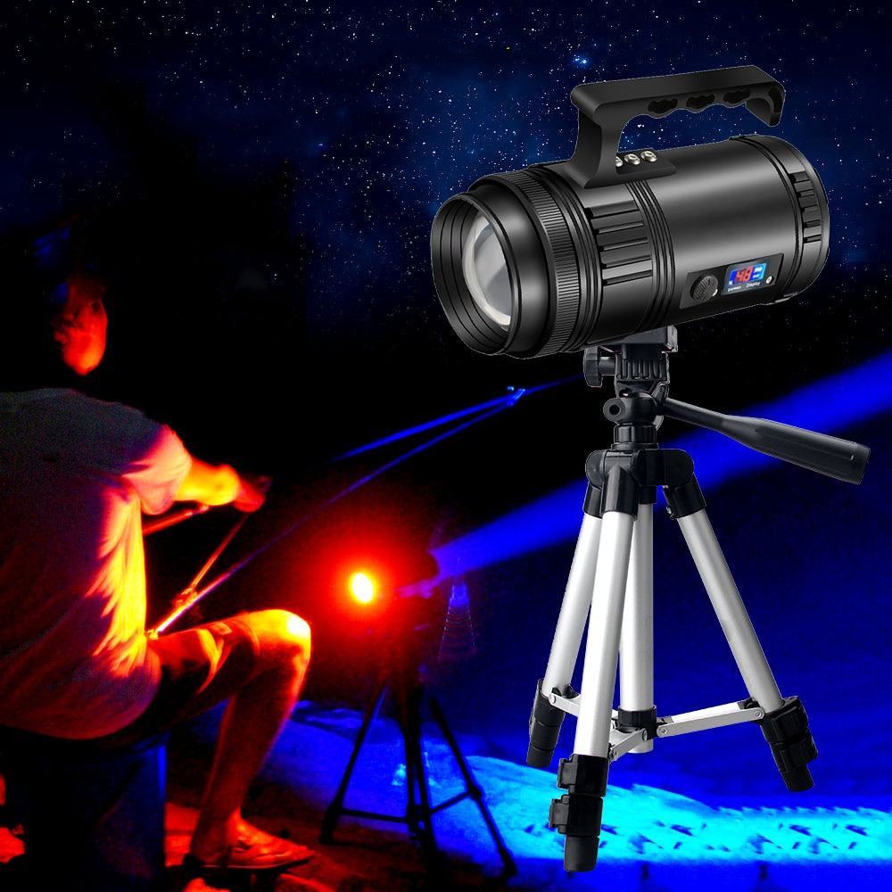 50W Outdoor Work Light with Bracket Fishing Flashlight Super Bright 4*T6 Source Focusing 16200 mAh Protable Zoom Lamp