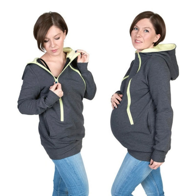 2020 New Parenting Baby Hooded Sweatshirt Mother Pregnant Women Kangaroo Pullovers Tops Clothes for Maternity Wear enlarge