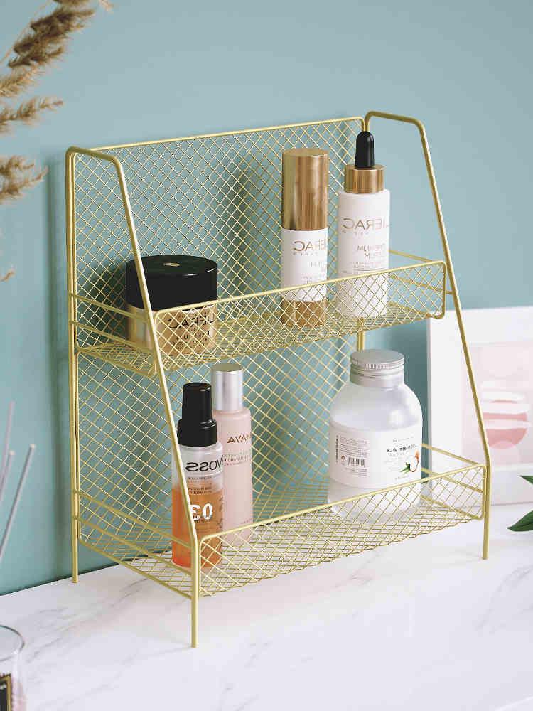 الحديد تخزين الرف للمطبخ الحمام 2 طبقات منظم رف الجمعية التجميل سطح المكتب الجدول الرف المنظم