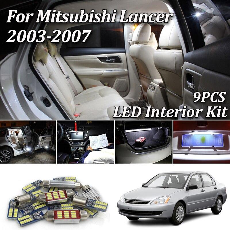 9Pcs Canbus White Car LED Bulbs Interior Light Package Kit For Mitsubishi Lancer Evo 2003 - 2007 LED Interior