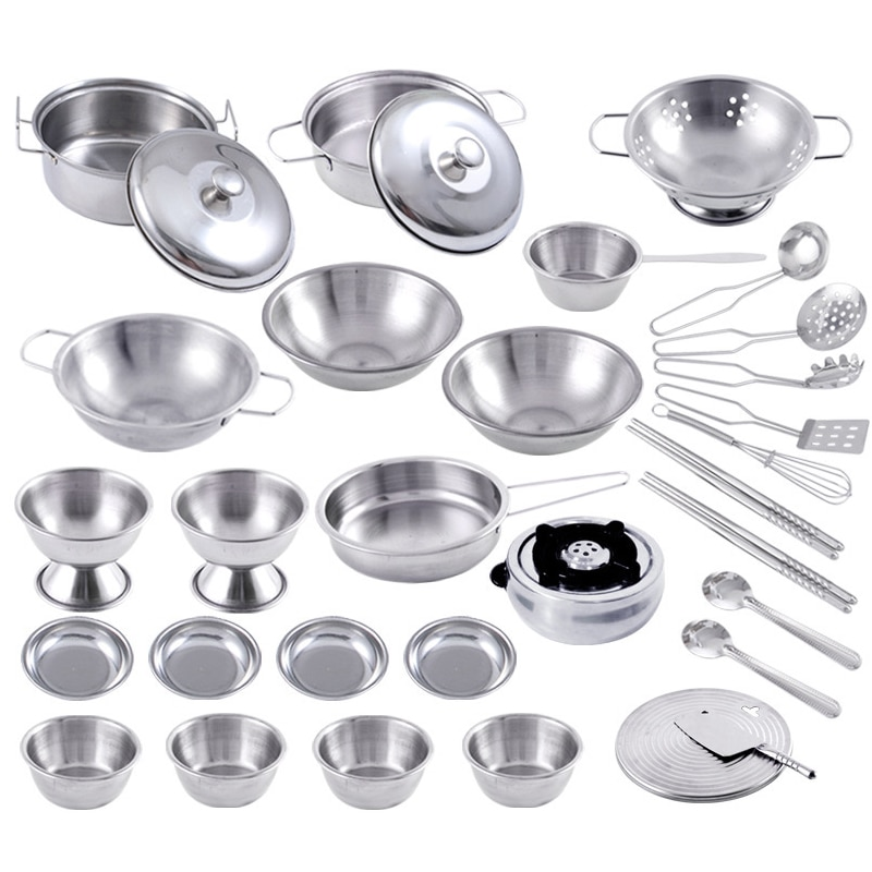 11pcs kids pretend play house kitchen toys set stainless steel cooking pots pretend cook play toy simulation kitchen cooking toy Stainless Steel Play Pots Pans Set for Toddler Interesting Pretend Cooking Toys Kitchenware Play House Toys Kids Interactive Toy