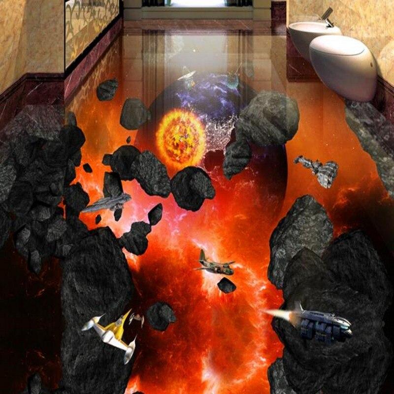 Wellyu 3D suelo personalizado publicado meteorito hit tierra baño sala de estar dormitorio usable azulejos pintura decorativa