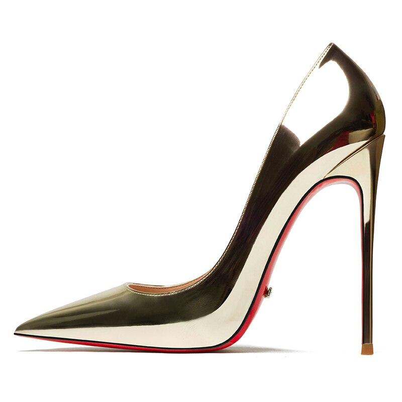 الذهب والفضة الصيف النساء أحذية الأحمر أسفل مضخات جلد الغنم Linning الشمبانيا عالية الكعب لسيدة حفل زفاف مثير خنجر