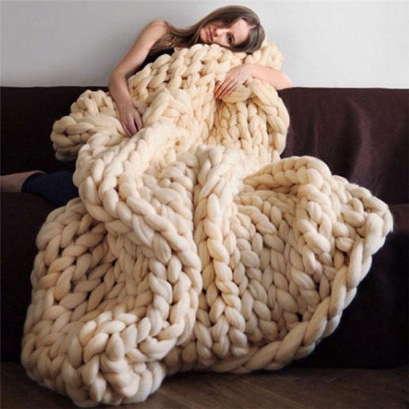 الاكريليك محبوك سميكة متعدد الألوان الخام بطانية المنسوجة اليد محبوك أريكة سرير بطانية الخريف/بطانية الشتاء