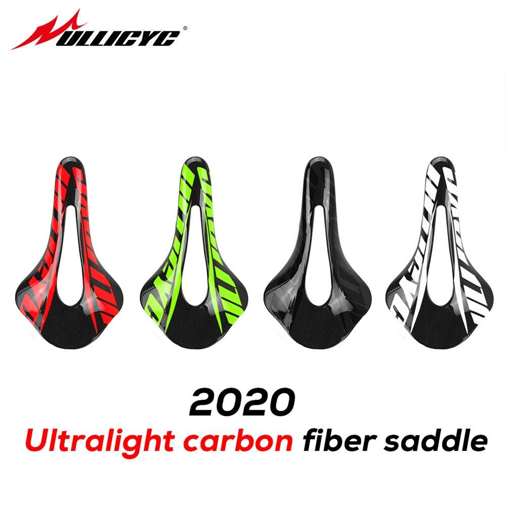 Asiento de fibra de carbono Ullicyc superleggera, asiento de bicicleta de pista para hombre, asiento de bicicleta de montaña, cojín, asiento de 3K, asiento de 250x143mm