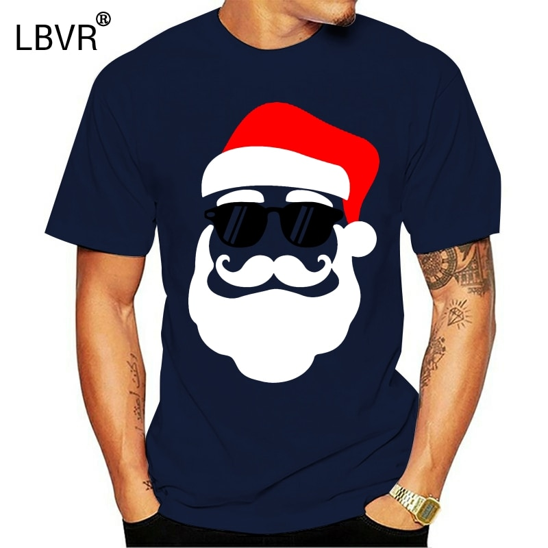Vintage hipster papai noel com óculos de sol engraçado presente tshirt para homem legal masculino tshirts 2020 de manga curta