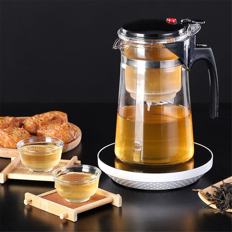 Juegos de té, tetera de cristal resistente al calor, Infusor de té chino Kung Fu, juego de té, tetera, cafetera de cristal, teteras prácticas de oficina