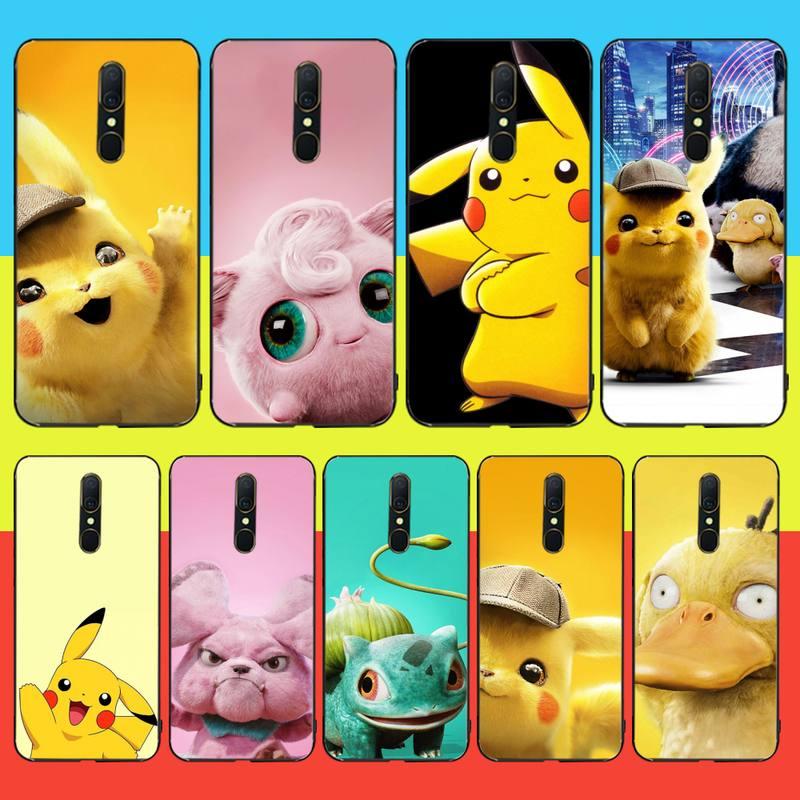 NBDRUICAI divertido lindo bolsillo ELF Pikachue negro TPU funda de teléfono de goma suave para Oppo A5 A9 2020 Reno Z Realme5Pro R11 funda