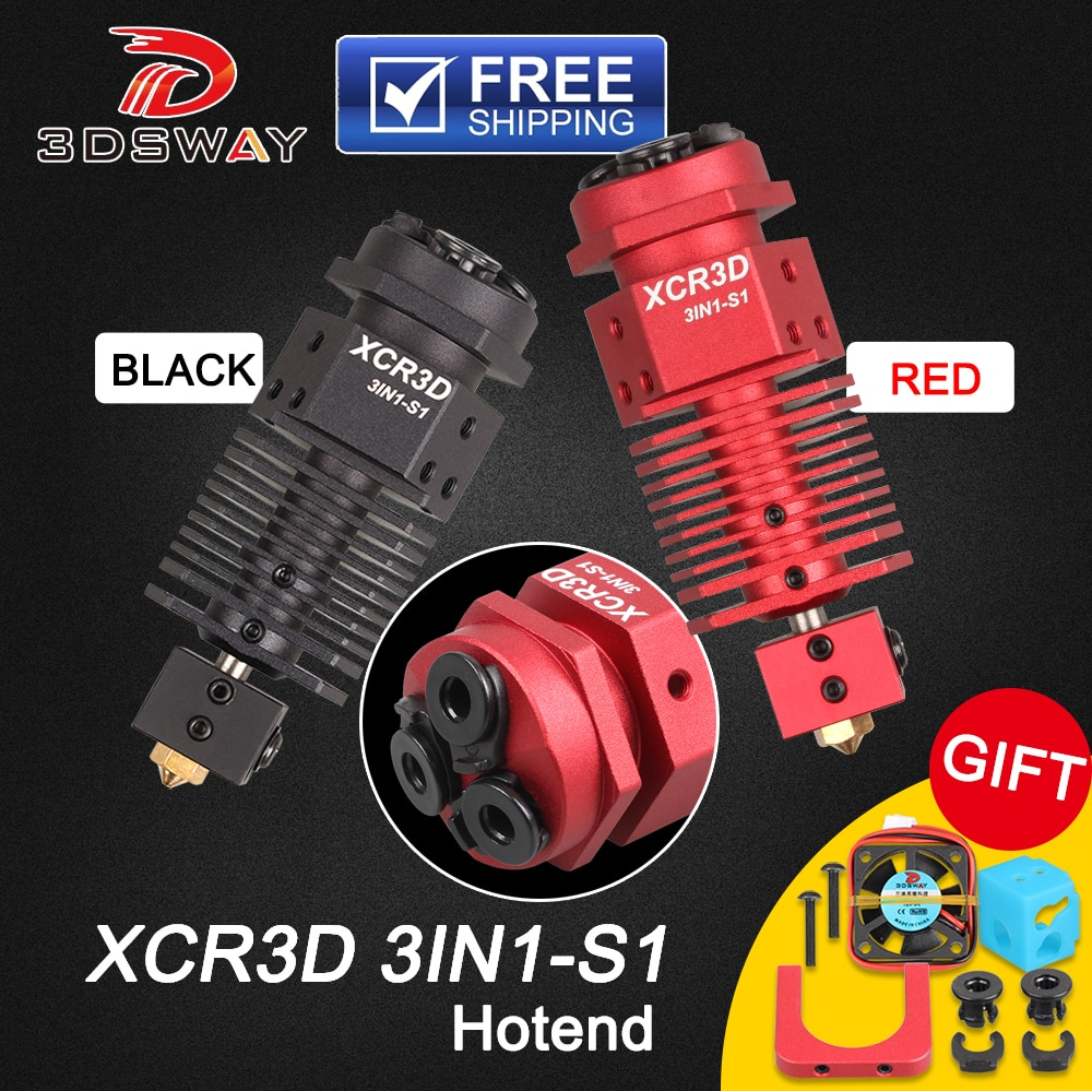 3dsway части 3d принтера XCR3D 3IN1-S1 Hotend 3 в 1 из переключение цвета 0,4/1,75 мм нити j-головка для Titan MK8 Боуден экструдер