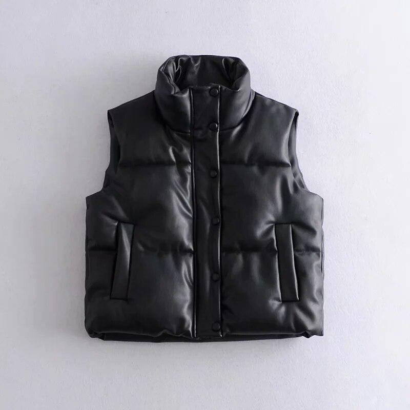 جاكيت من الجلد الصناعي المصنوع من البولي يوريثان على الموضة لعام 2021 معطف سميك بدون أكمام للنساء معطف ZA بسحاب للربيع والشتاء