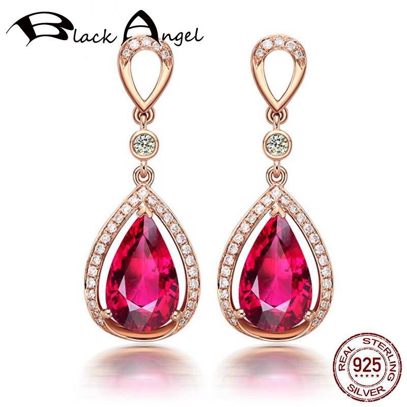 Anjo preto 18k rosa ouro gota de água em forma de rubi brincos 925 prata esterlina pedra preciosa gota brincos para o casamento feminino jóias