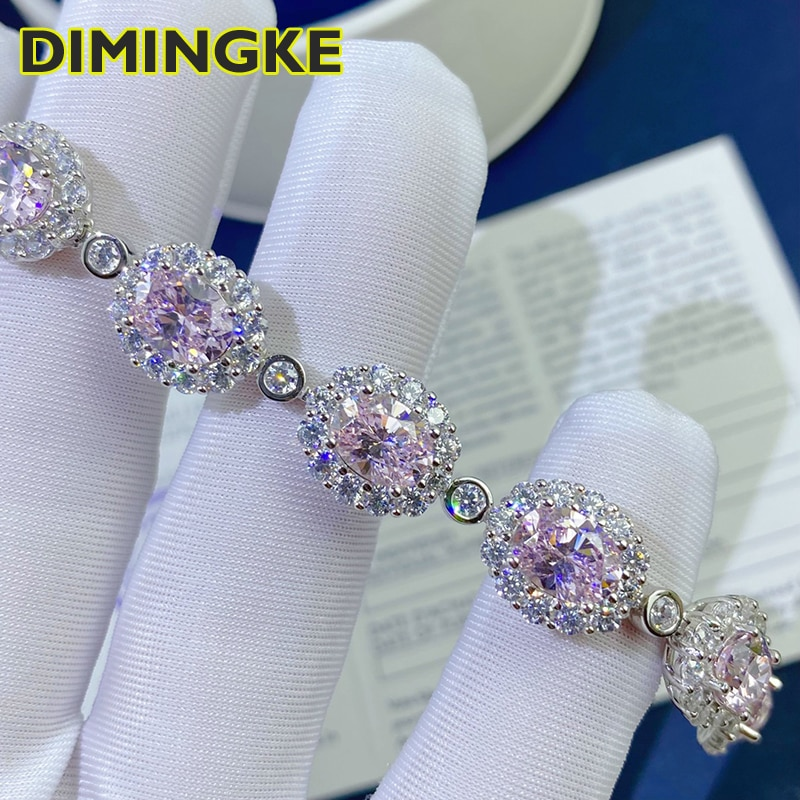 Promo DIMINGKE 6*8MM Pink High Carbon Diamond 17CM Bracelet 100%-S925 Sterling Silver Wedding Party Lover Jewelry Gift
