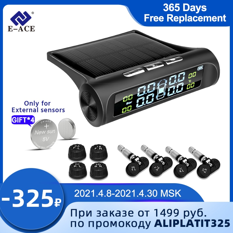 aliexpress.com - E-ACE Solar Power TPMS Car Tire Pressure Alarm Monitor System Auto Security Alarm Systems Tyre Pressure Temperature Warning