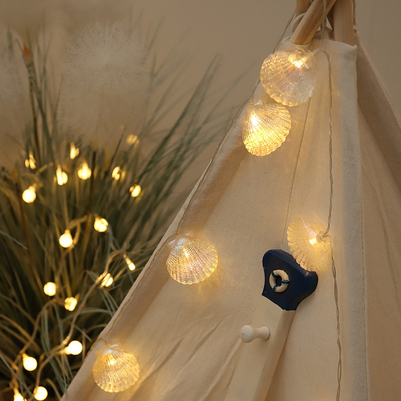 String Lights LED Shell Lights Curtain Lights Indoor Outdoor Home Window Decoration Christmas Tree Decoration Lights 1pc