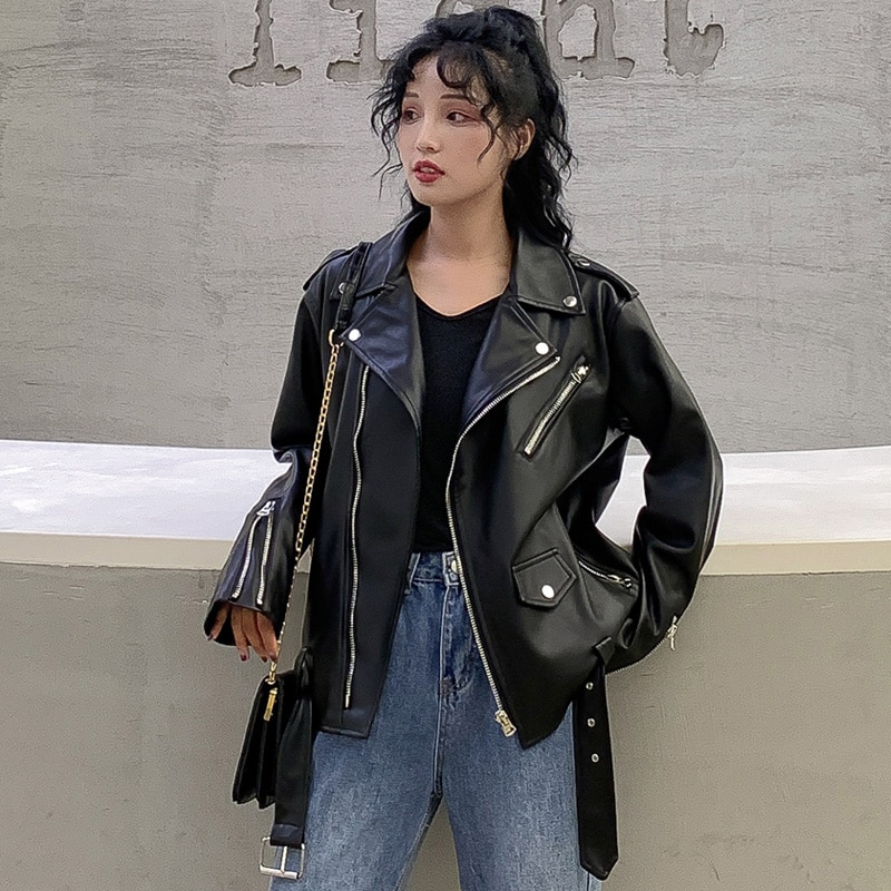 2021 Spring Autumn Women Leather Jacket PU Faux Leather Jackets Lady Big Pockets Black Zippers Motorcycle Biker Female Coats enlarge