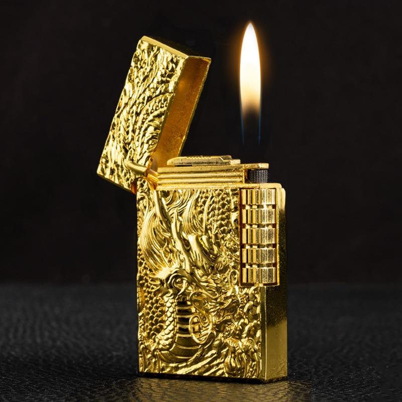 Ultra-thin Metal Retro Embossed  Grinding Golden Dragon Flint Gas Lighter Butane Windproof Cigar Lighter  Torch Lighter