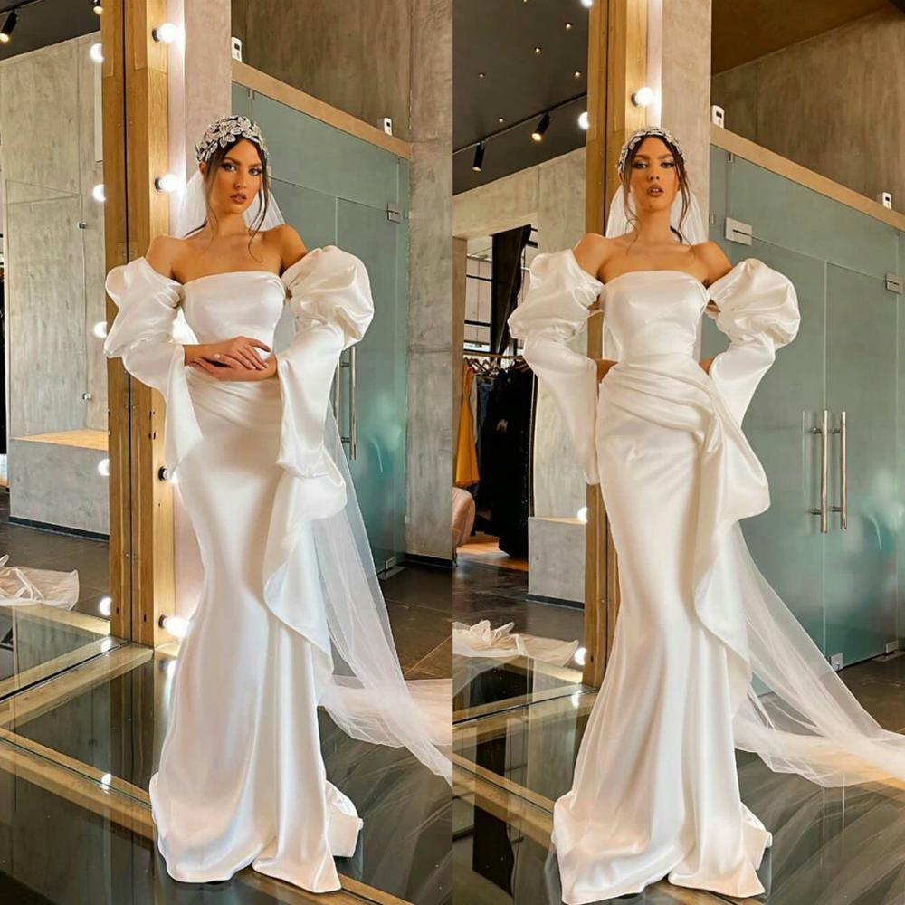 Vestidos de novia de sirena de satén sencillo, vestido de boda de manga larga con hombros descubiertos de Julieta, vestido de novia largo hasta el suelo de talla grande