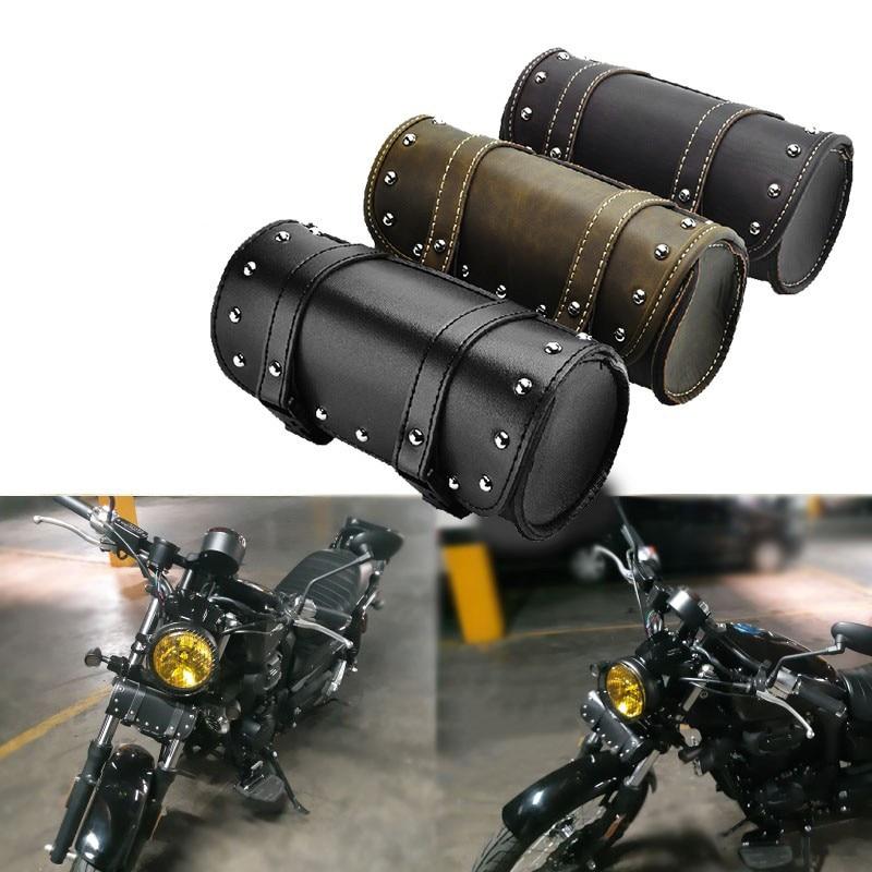 PU Leather Motorcycle Bag Moto Top Case Side Tool Saddle Bag Roll Barrel Storage Bag Waterproof Universal 2 Mounting Straps