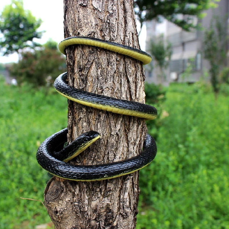 Simulación de goma suave serpiente broma divertido juguete accesorios para jardín antiestrés Horror serpiente falsa chico de regalo