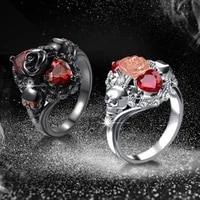 trendy skull rose ring womens ring bohemian crystal inlaid ring fashion metal rhinestone inlaid ring accessories party jewelry