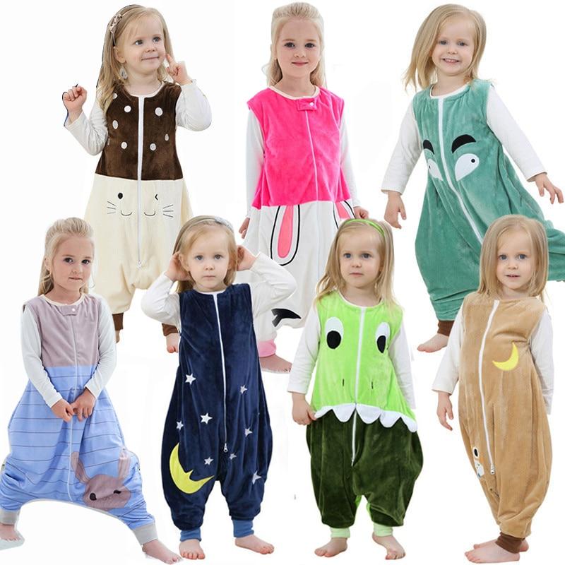 Spring Sleepwear Flannel Sleeping Bag Cartoon Baby Boys Clothes For Girls Pajamas Kids Clothing Bodysuits Jumpsuits Warm Romper