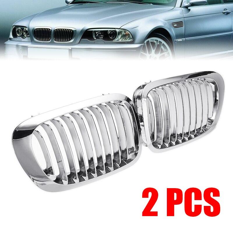 2 pçs abs prata frente rim grelhas grill capa corrida grades apto para bmw série 3 e46 coupe cabrio m3 1998-2002 acessórios