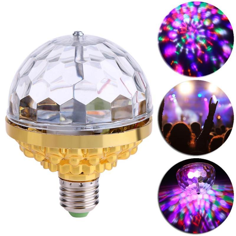 E27 LED bola mágica de cristal mini RGB LED con luz de la etapa 6W bombilla disco giratorio parte DJ Navidad efecto bola proyector focos
