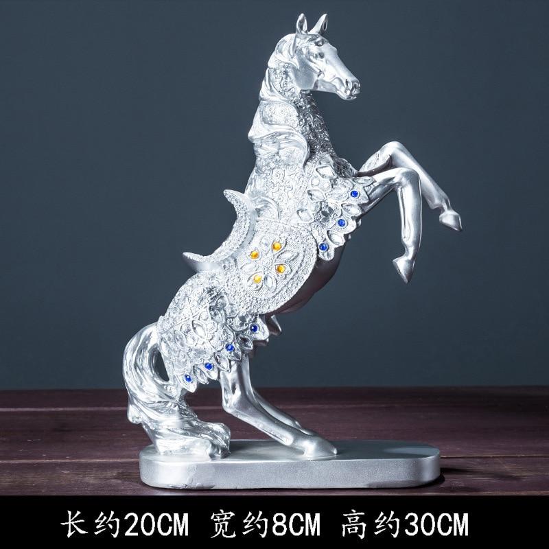Figura de caballo de la suerte de resina dorada y plateada de 30cm, decoración para enfriar vino, modelo de artesanía Retro estadounidense, juguete para regalo para coleccionar