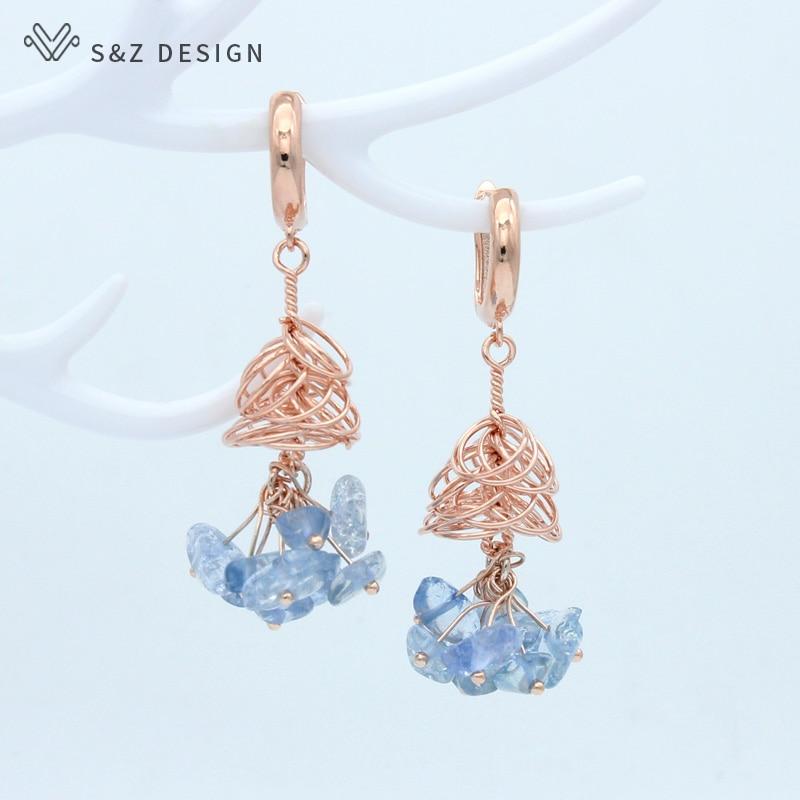 S&Z DESIGN Handmade Original Natural Stone Crystal Dangle Earrings Korean New Fashion 585 Rose Gold For Women Wedding Jewelry