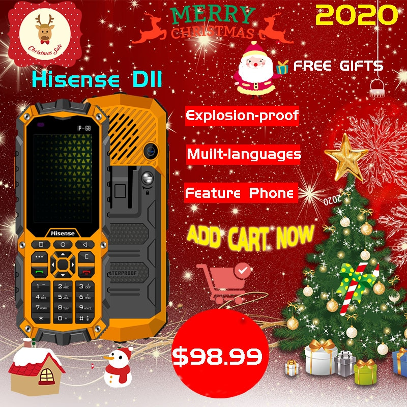 Hisense D11 Smart-Feature IP68/IP69 Water Proof 4G Quad Core 2800MAH 8GB High Torch Shock-proof High-Definition Screens
