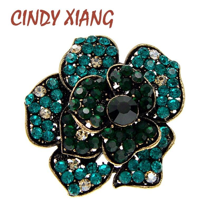 Cindy xiang strass grande camélia broches de flores para as mulheres do vintage moda inverno broche pino 3 cores disponíveis bom presente