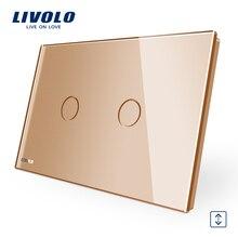 Livolo AU panneau en verre cristal or standard   110 ~ 250V, commutateurs de rideau sans fil, interrupteur gradateur de rideau