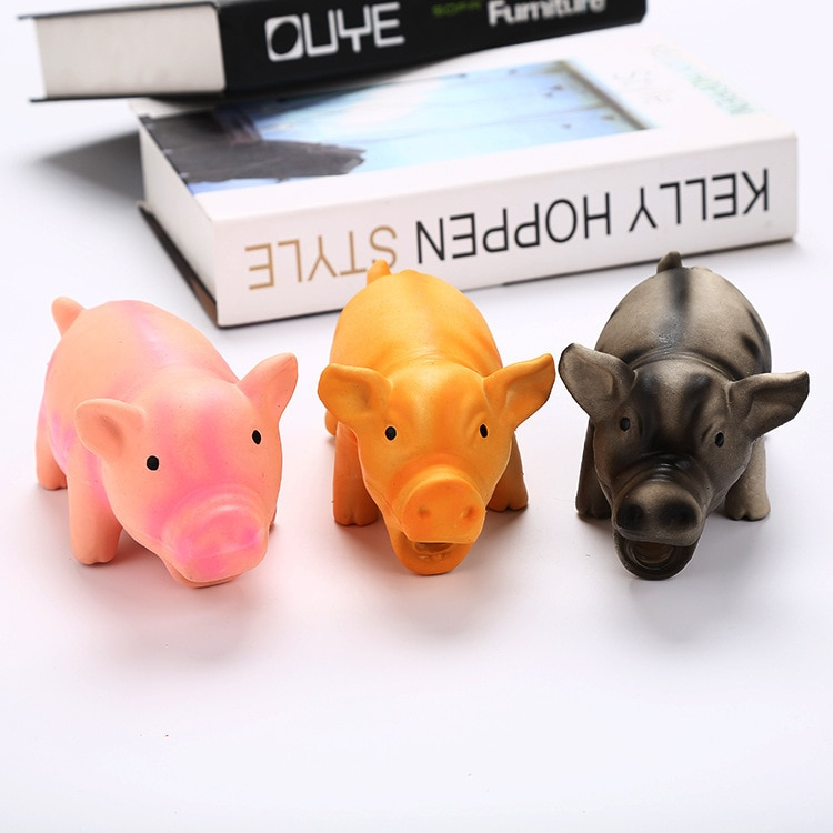 100% nuevo lindo cerdo sizzling látex mascota goma de mascar juguete perro mascota ladrar producto para masticar